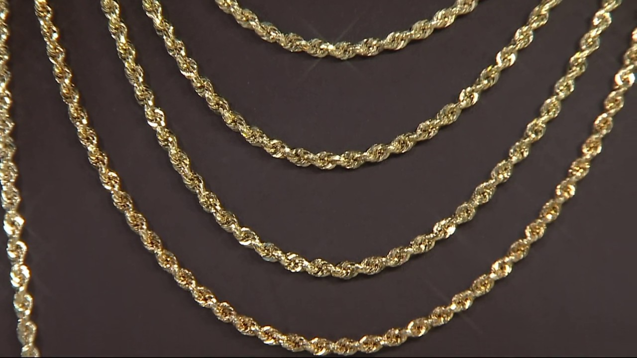 ddacddcac 14K Gold Bold Twisted Rope Chain Necklace on QVC - YouTube