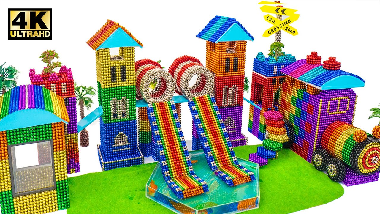 Build Train Station Playground and Swimming Pool From Magnetic Balls (Satisfying ASMR) | MW Series