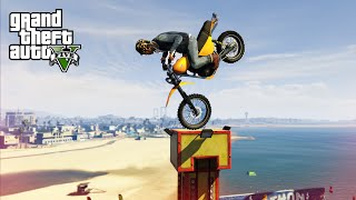 CRAZY MOTORBIKE STUNTS! - (GTA 5 Top 10 Stunts)