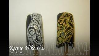 видео Дизайн ногтей с использованием гель-лака и гель-краски.