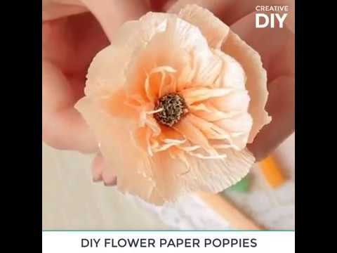 DIY PAPER FLOWER POPPIES FROM CREPE PAPER