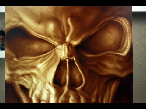 How to airbrush realistic skull | Automotive steel panel painting