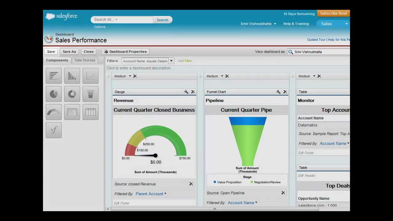 how to add 4 objects to a dashboard salesforce