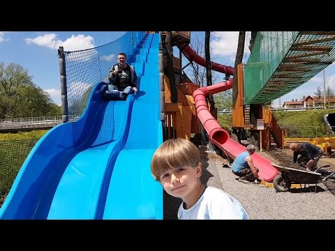 Giant Slide and Big Nerf like Crossbow - Family Games Fun Day
