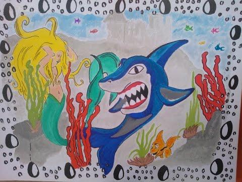 COMO PINTAR UN PAISAJE MARINO (SIRENA-TIBURÓN) | HOW PAINTING A SEASCAPE (MERMAID-SHARK)