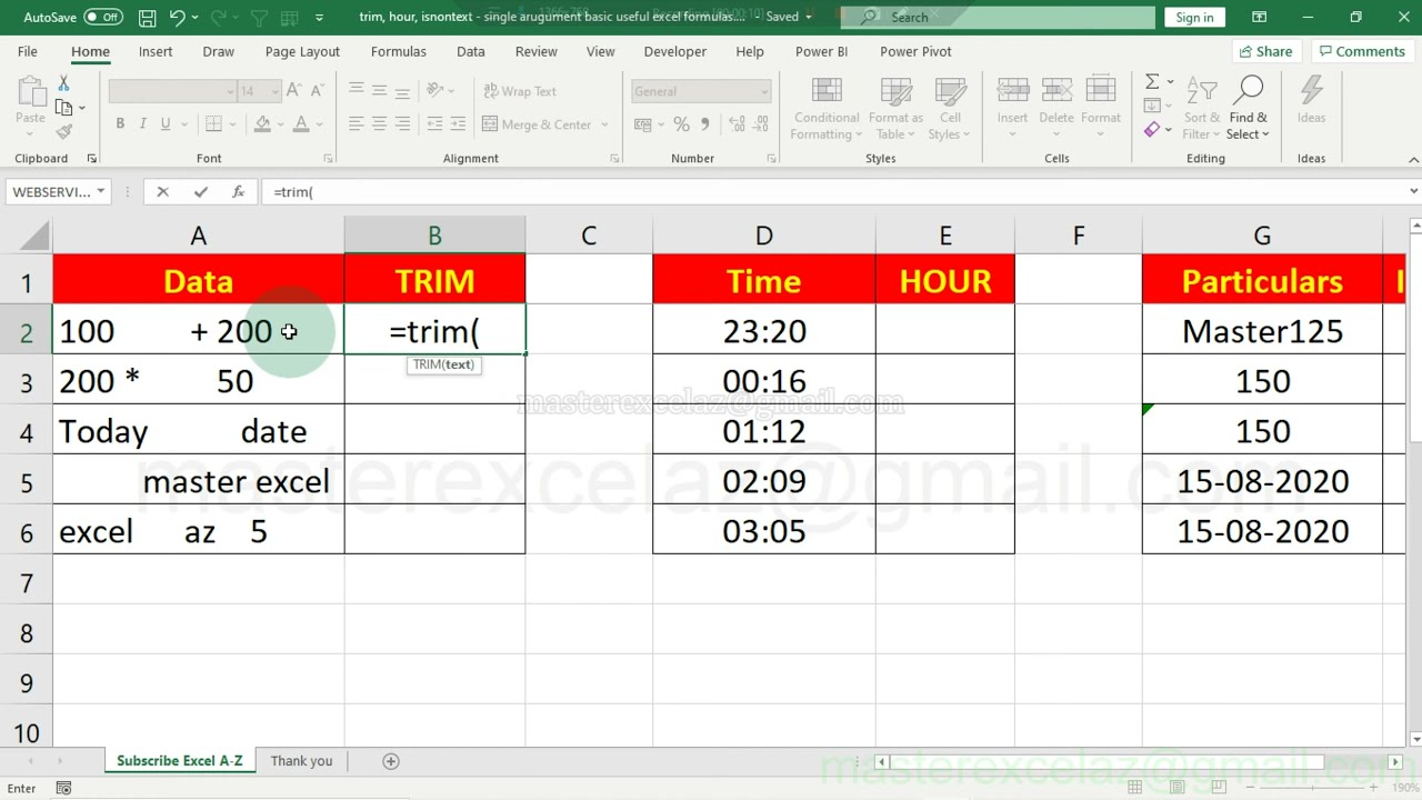 trim, hour, isnontext   single arugument basic useful excel formulas
