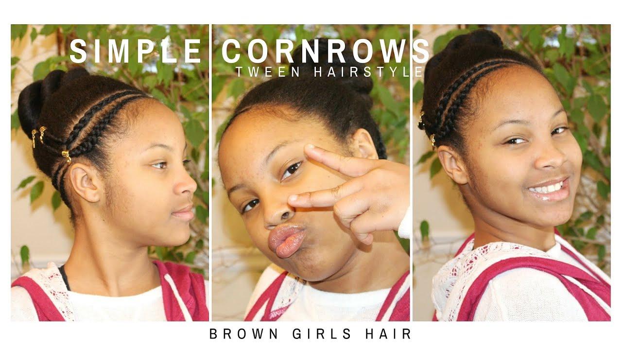 Simple Cornrows Tween Hairstyle | Natural Hair Kids - YouTube