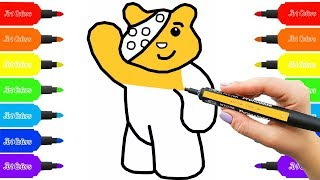 How to draw Pudsey | Pudsey bear in steps Coloring Pages | Art Colors with Colored Markers