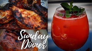 Sunday Dinner BBQ JERK CHICKEN ROAST SWEET POTATO & WATERMELON DRINK | Chef Ricardo Cooking !!