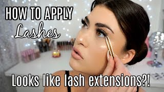 HOW TO APPLY FALSE EYELASHES! To Look Like Lash Extensions 👀