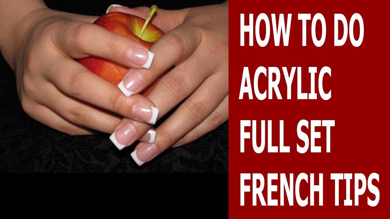 How To Do Acrylic Full Set French Tips ♥ Acrylic Nails ♥ Lisa Nail ...