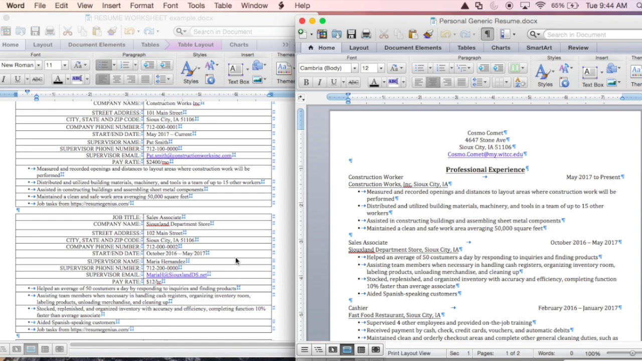 3 Personalizing The Generic Resume Using The Resume Application