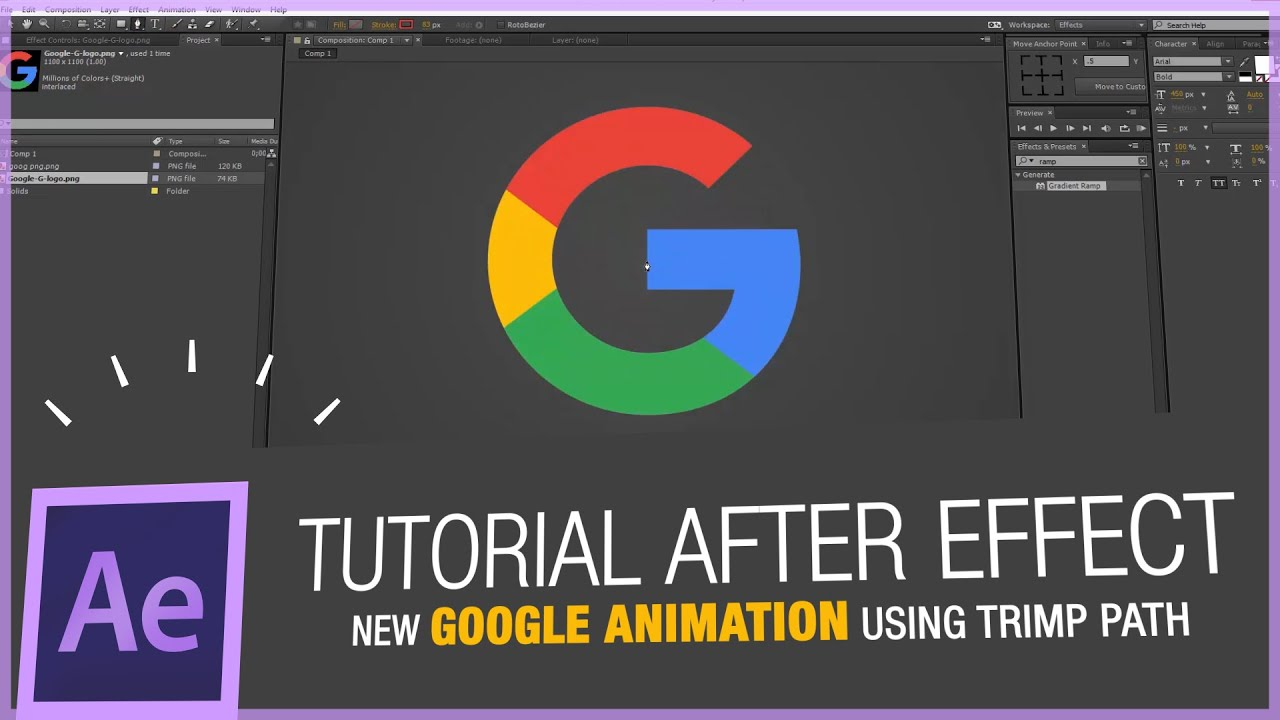 after effects tutorial - google new logo animation in after effect