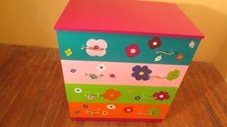 Como Pintar Comoda Con Flores Para Jovencita o Niña