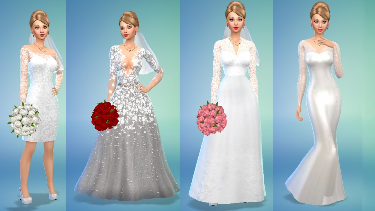 Contenido personalizado sims 4 : Vestidos de novia - YouTube
