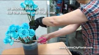How To Create Blue Rose by 24Hrs City Florist Singapore