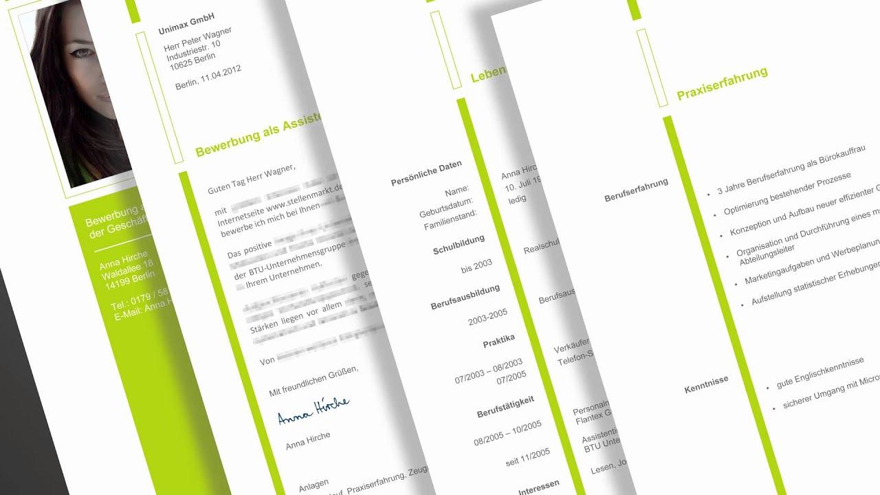 Gestaltung Bewerbung Komplette Text Und Designvorlage