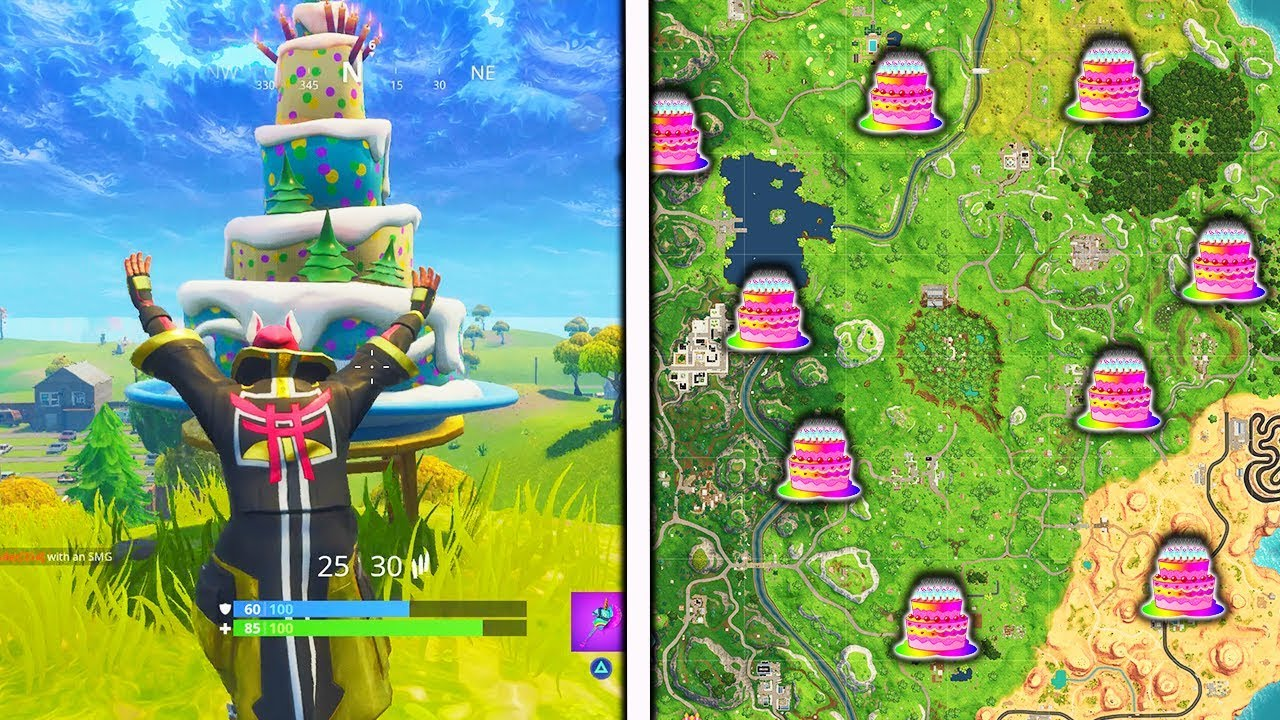 Dance In Front Of Different Birthday Cakes Locations Fortnite Challenges