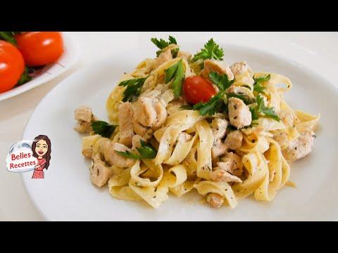 tagliatelles-au-poulet-et-champignons-sauce-crÈme-au-citron---repas-facile-et-rapide-belles-recettes