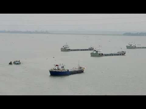 Beautiful Meghna River and Bridge in bangladesh