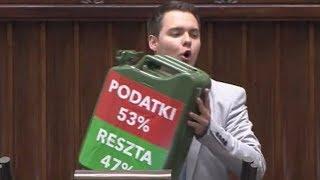 Poseł Kukiz'15 wpada z karnistrem na mównicę jak niegdyś Kaczyński