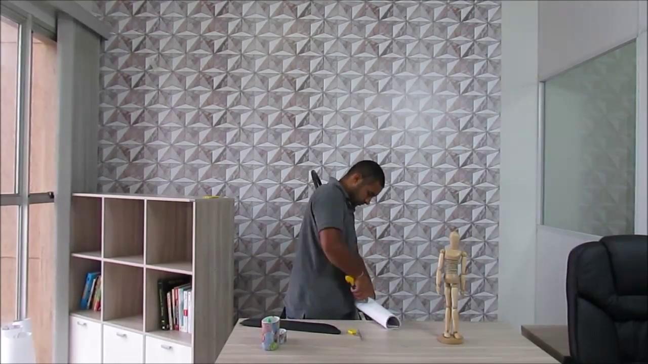 Como decorar um escrit rio ou home office com papel de - Escritorio pared ...