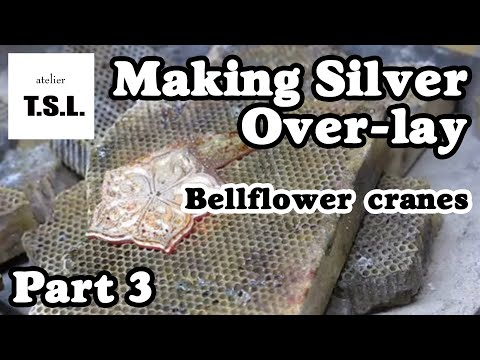 "Silver jewelry making ""Bellflower cranes"" 3/4 Jigsaw,Brazing. Faits à la main pendentif."