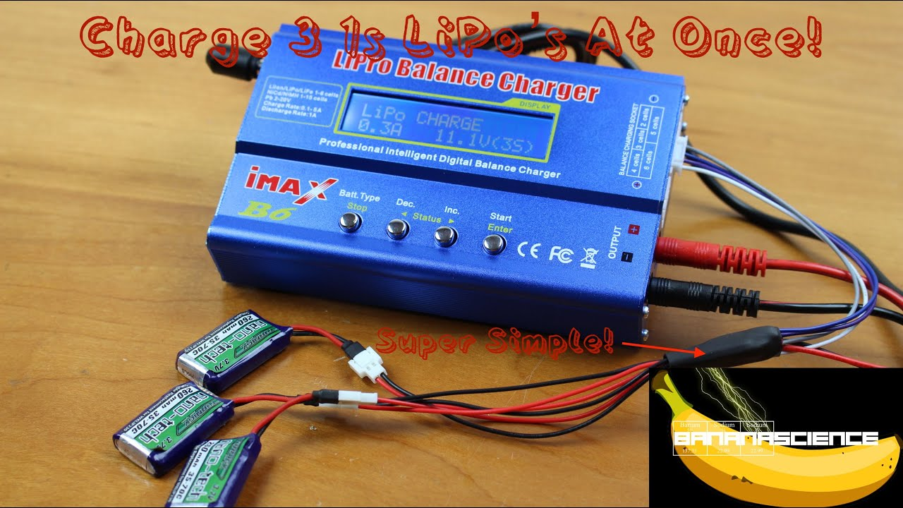 How To Balance Charge 3 1s Lipo S At Once Imax B6 Youtube