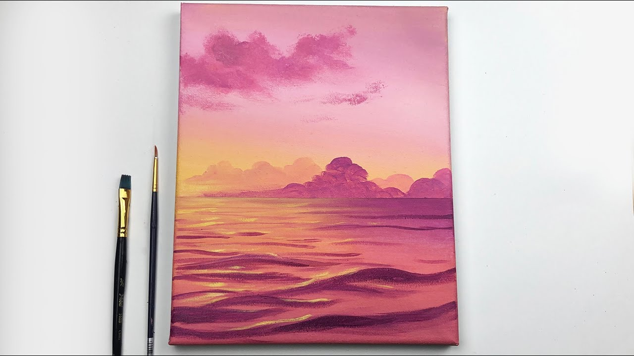 Sunset Acrylic Painting Tutorial Step By Step Easy Sunset Acrylic Tutorial Youtube