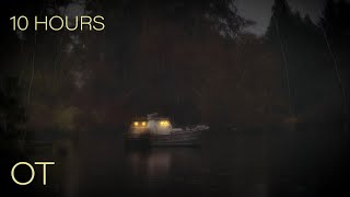 Staying Warm on a Cold Rainy Night | Cozy Boat at Anchor | Soothing Rain Sounds| Relax| Study| Sleep