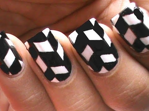 Black And White Nail Art Hand Painted Nails Step By Step Youtube