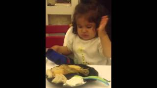 13 months old baby eating