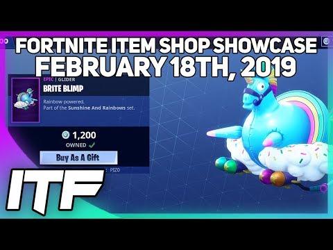 Fortnite Item Shop *NEW* BRITE BLIMP GLIDER! [February 18th, 2019] (Fortnite Battle Royale)
