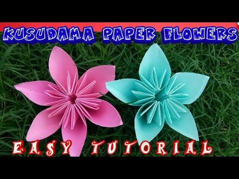How to make a Kusudama Paper Flower - DIY   Easy origami Kusudama Flowers for beginners making  