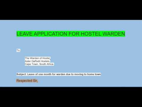 Application for Hostel Warden leave for some day