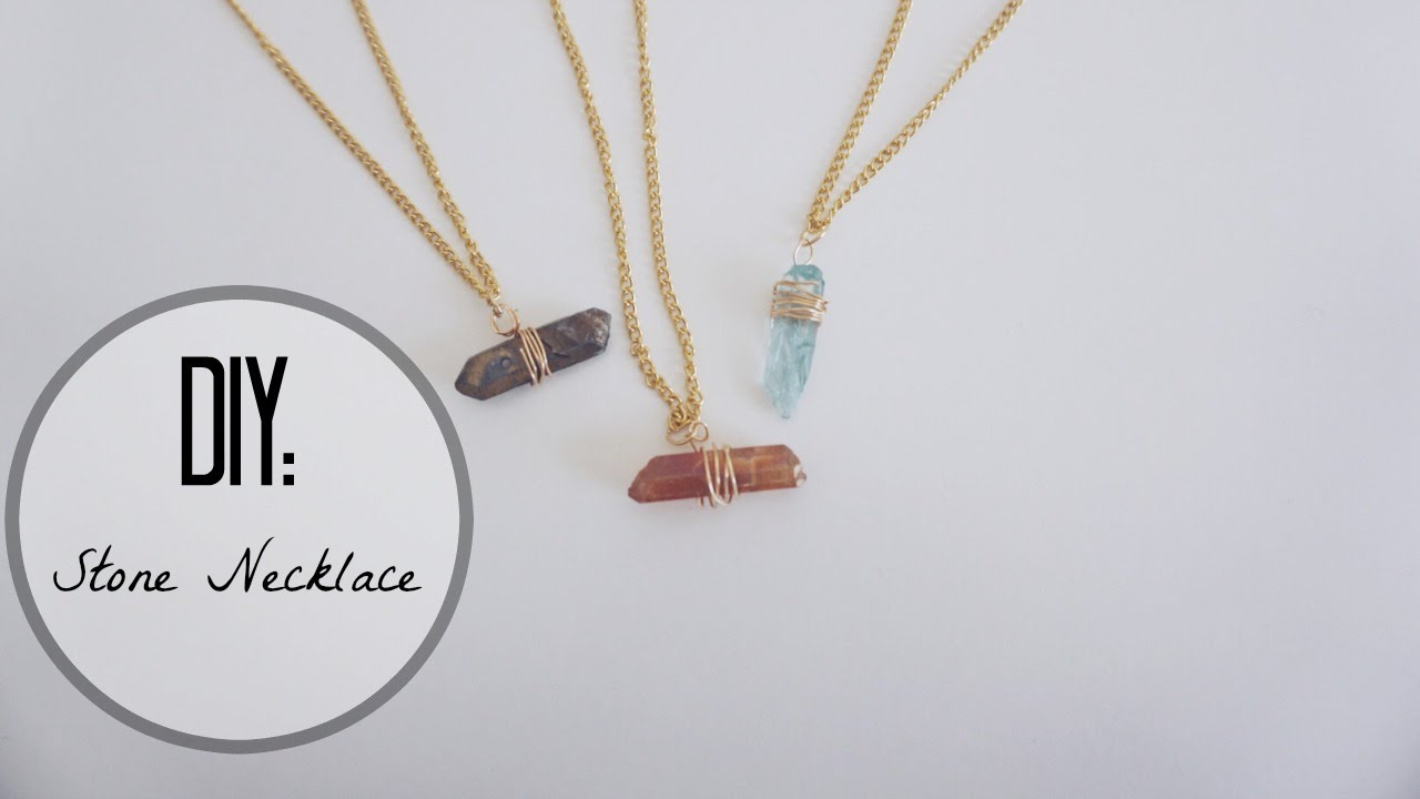 DIY wire wrapped Stone Necklace♡|JessicaaWildd - YouTube