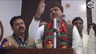 Surendra Singh Nagar, Ex MP BSP, speaks during BSP members convention at Awadh Greens   Gr Noida