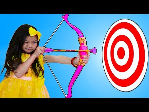 Emma Pretend Playing with Bow & Arrow Toy at Kids CARNIVAL Games