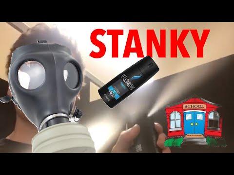 Spraying an entire can of axe in school washroom prank