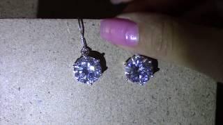 Очень красивые серебряные серьги с камнями с aliexpress
