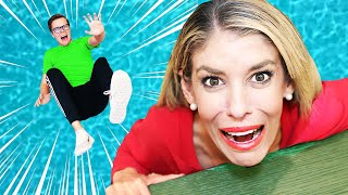 24 Hours Facing Biggest Fear at Giant Waterpark! Rebecca Zamolo