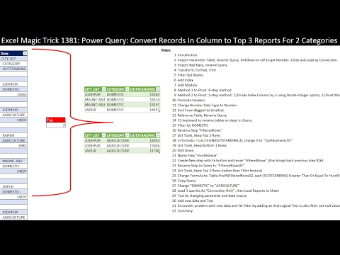 Excel Magic Trick 1381: Power Query: Records In Column into Table then Two Different Top 3 Reports