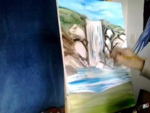 Tutorial - Cachoeira pintura a óleo - Pt 2