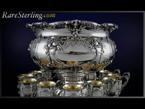 Reed And Barton Francis Sterling Silver Punch Bowl Set
