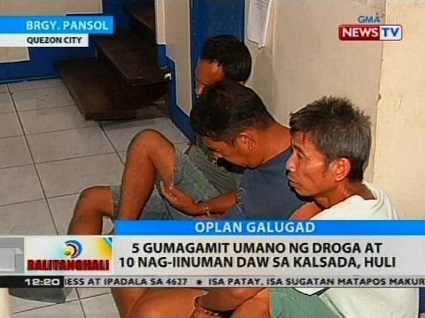 BT: 5 na gumagamit umano ng droga at 10 nag-iinuman daw  sa kalsada, huli