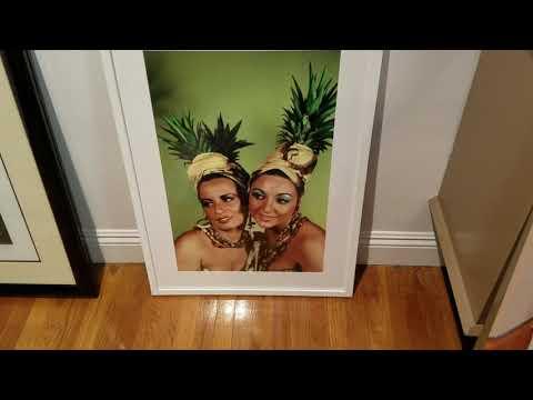 Carmen Miranda Style Lithograph, Pineapple Hats