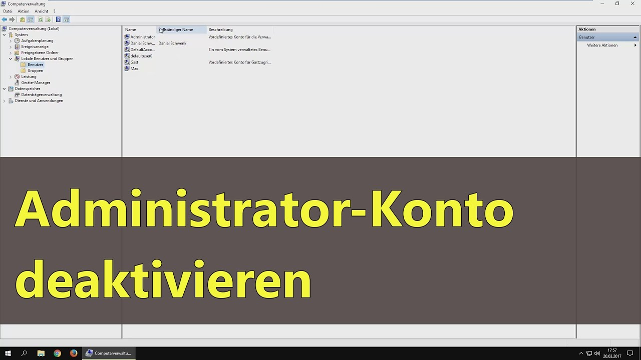 [Windows 10] Administrator-Konto deaktivieren - YouTube