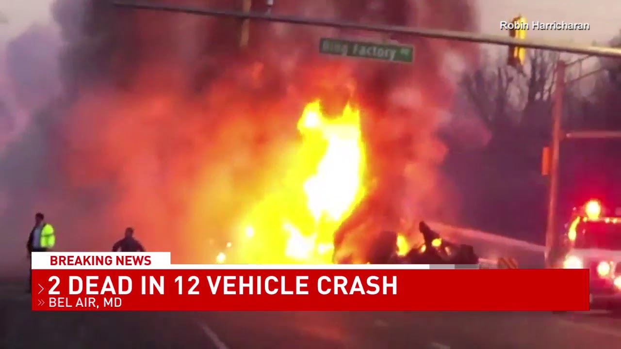 2 dead in 12-car crash in Maryland