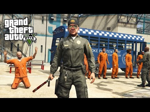 PRISON GUARD!! (GTA 5 Mods PLAY AS A COP MOD)