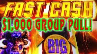 BUFFALO FAST CASH  ★ PROGRESSIVE WINS ★ MAX BET $1,000 GROUP PULL ➜ 4/6